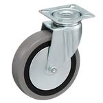 Колесо аппаратное Tellure Rota 374104 поворотное, ? 100 мм, грузоподъемность 55 кг, серая резина, полипропилен