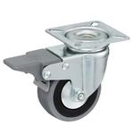 Колесо аппаратное Tellure Rota 378101 поворотное с тормозом, ? 50 мм, грузоподъемность 35 кг, серая резина, полипропилен