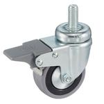 Колесо аппаратное Tellure Rota 379101 поворотное с тормозом, ? 50 мм, грузоподъемность 18 кг, серая резина, полипропилен, штырь с резьбой M8