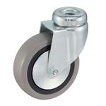Колесо аппаратное Tellure Rota 373101 поворотное, ? 50 мм, грузоподъемность 35 кг, серая резина, полипропилен