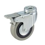 Колесо аппаратное Tellure Rota 377101 поворотное с тормозом, ? 50 мм, грузоподъемность 35 кг, серая резина, полипропилен