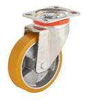 Колесо большегрузное Tellure Rota 657602 поворотное, ? 100 мм, грузоподъемность 250 кг, полиуретан TR, алюминий