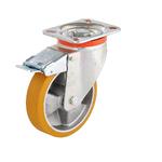 Колесо большегрузное Tellure Rota 656602 поворотное, с тормозом, ? 100 мм, грузоподъемность 250 кг, полиуретан TR, алюминий