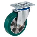 Колесо большегрузное Tellure Rota 624504 поворотное, ? 160 мм, грузоподъемность 500 кг, полиуретан TR- ROLL, алюминий