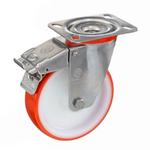 Колесо Tellure Rota 606601 поворотное с тормозом, ? 80 мм, грузоподъемность 120 кг, термопластичный полиуретан, полиамид
