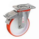 Колесо Tellure Rota 606703 поворотное с тормозом, ? 125 мм, грузоподъемность 220 кг, полиуретан, полиамид, кронштейн из нержавеющей стали