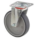 Колесо Tellure Rota 714202 поворотное, ? 100 мм, грузоподъемность 100 кг, термопластичная серая резина, полипропилен