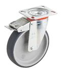 Колесо Tellure Rota 716604 поворотное с тормозом, ? 150 мм, грузоподъемность 140 кг, термопластичная серая резина, полипропилен